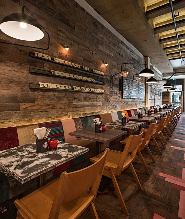 Restaurant Kitchen Interior Design: Artworks, Reclaimed Timber And Timber Cladding