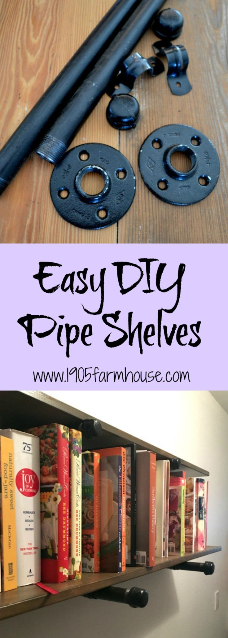 Ideas : Easy DIY pipe shelves built by my plumber husband to hold my cookbook collection