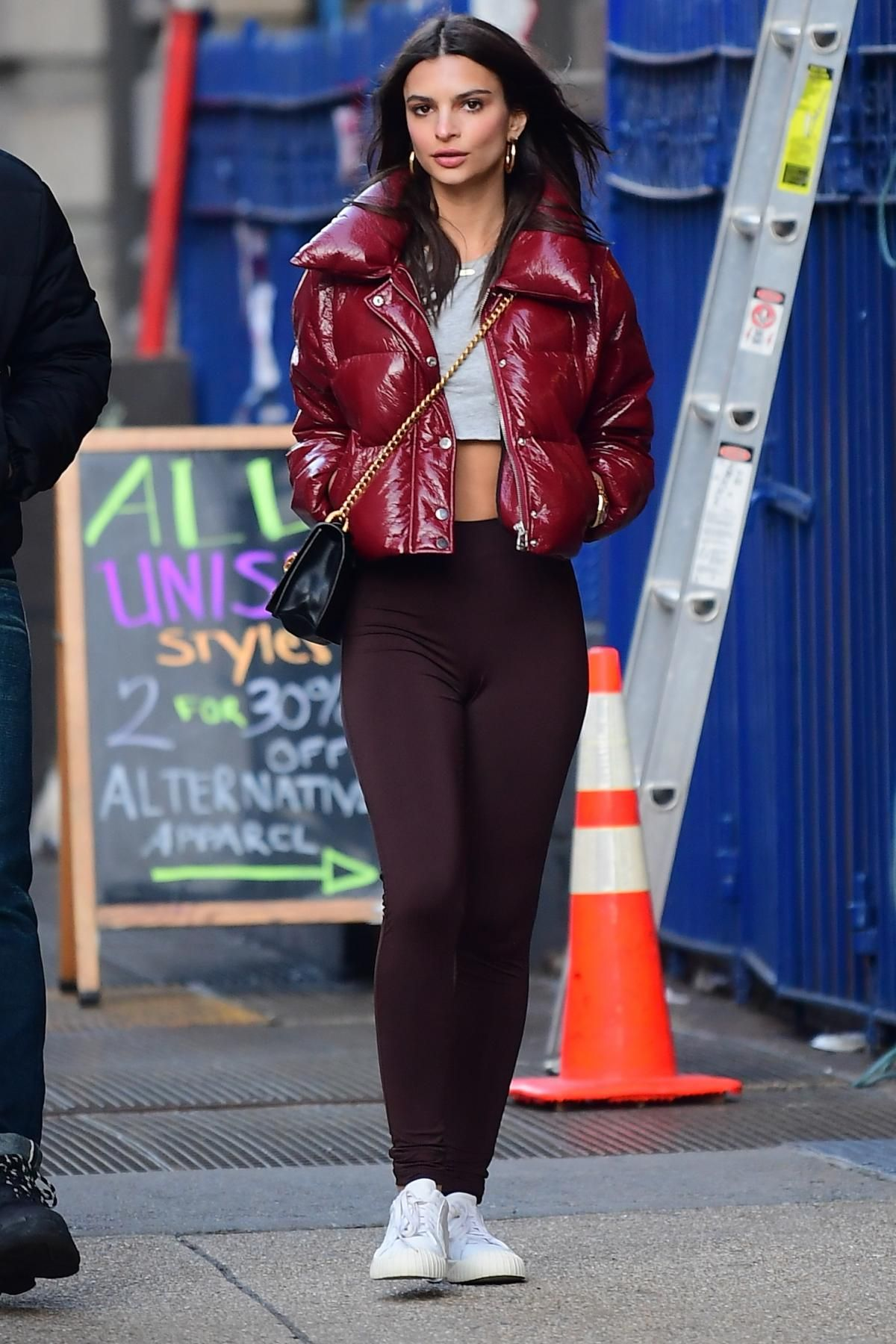 b310505d9049bc Emily Ratajkowski steps out in a red LPA cropped puffer jacket ...