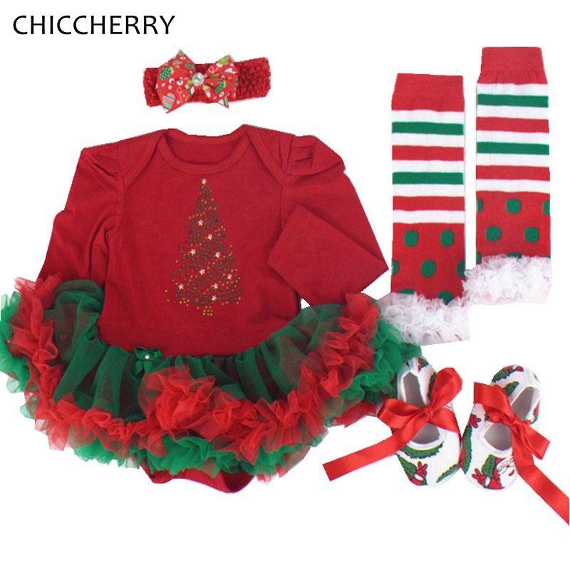 ae77d2e8b02f1 Shining Tree Baby Christmas Dress Headband Shoes Leg Warmers 4PCS Newborn  Tutu Sets Baby Girl Christmas Outfits Infant Clothes  Affiliate