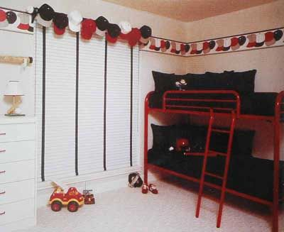 A baseball cap valance - it would have to be caps the kids don\'t ...