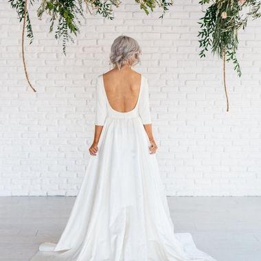 f28750d1d277f Modern Simple Long Sleeve A-Line Satin Wedding Dress With Open Back - June  Bridals