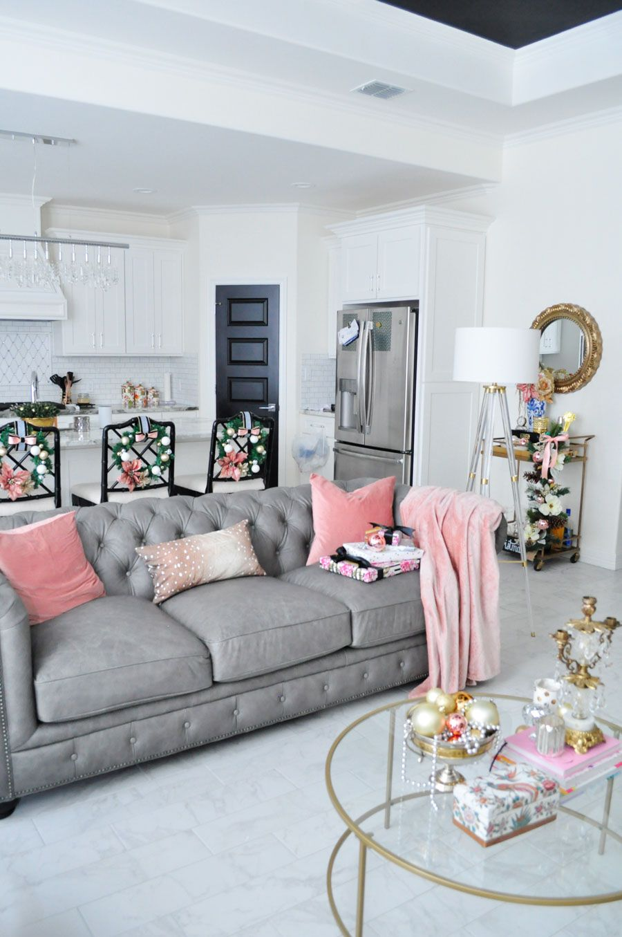 Best Holiday Home Tour Blush Silver Gold Decor Grey Home 400 x 300