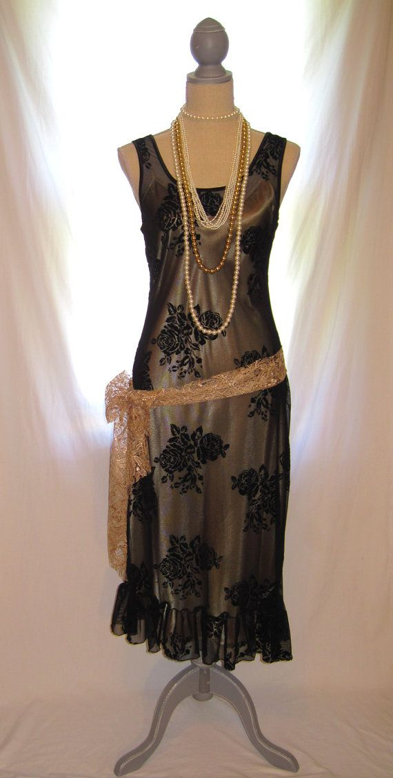 Black floral lace sheer sleeveless The Great Gatsby dress ...