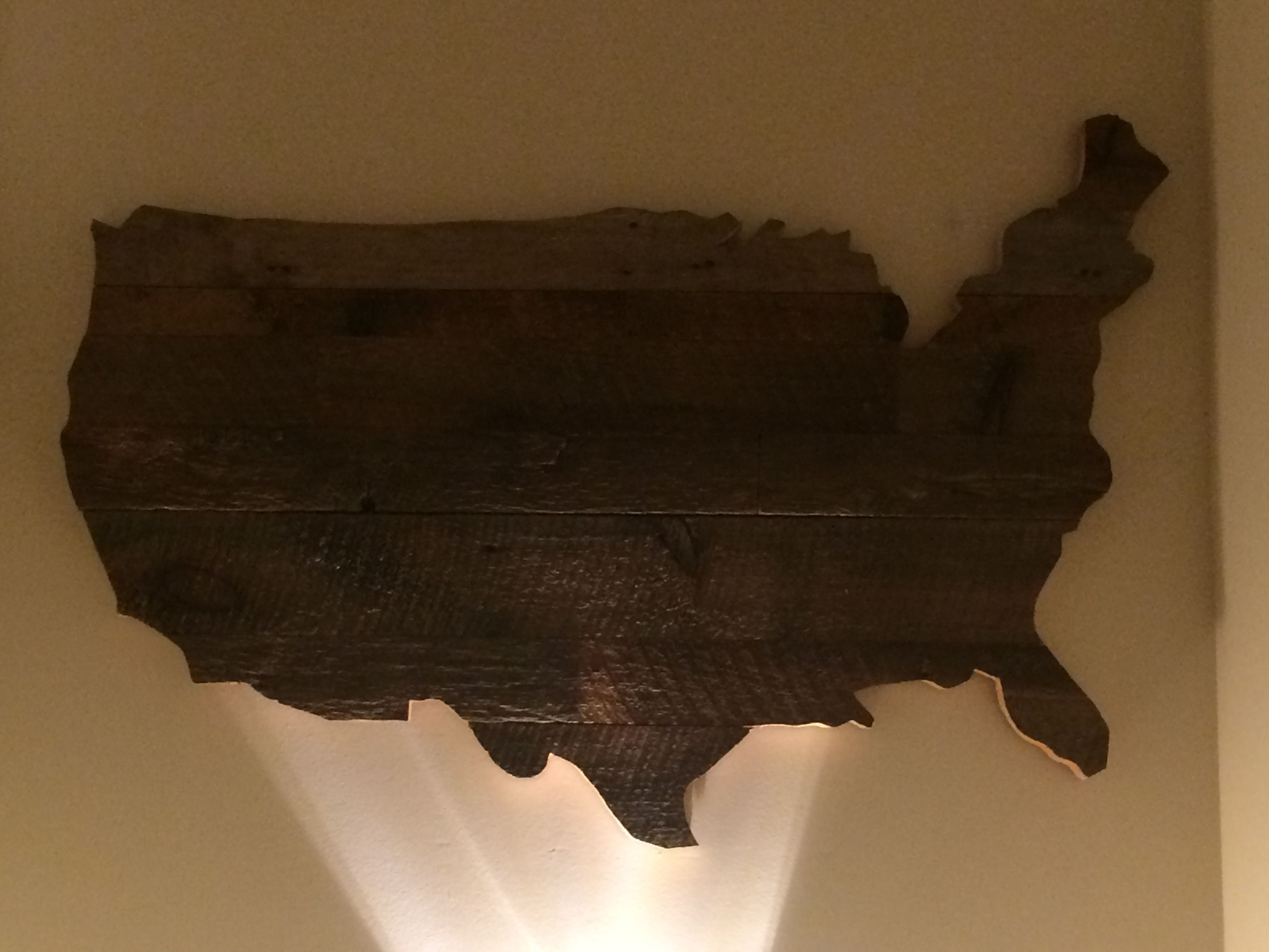USA map made from pallet wood USA