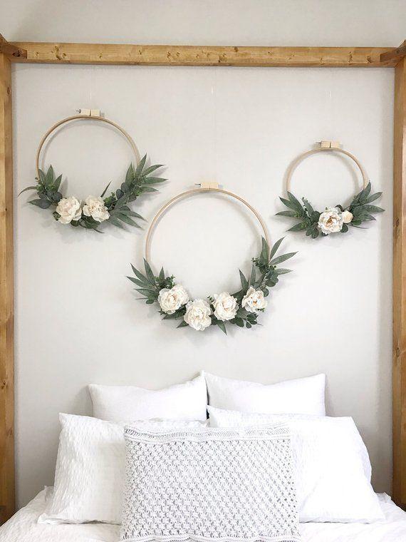 Photo of Large Ivory Peony and Eucalyptus Wreath Set of Three. Wedding backdrop. Nursery …
