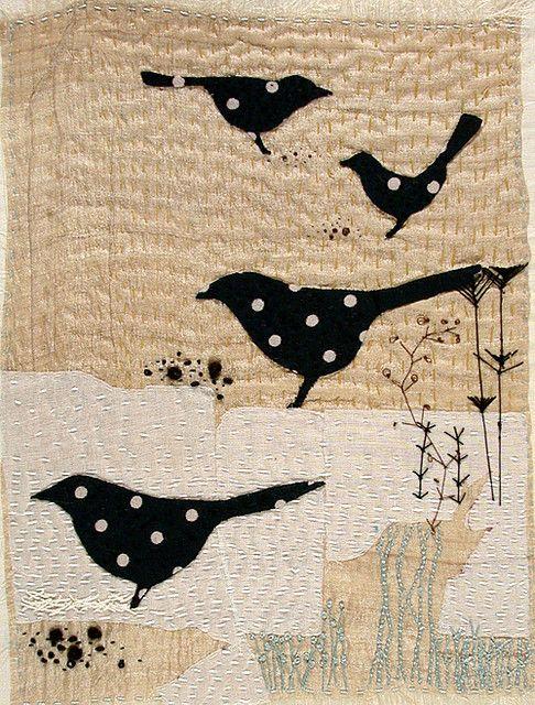 blackbird art quilt by Jantze Tullett