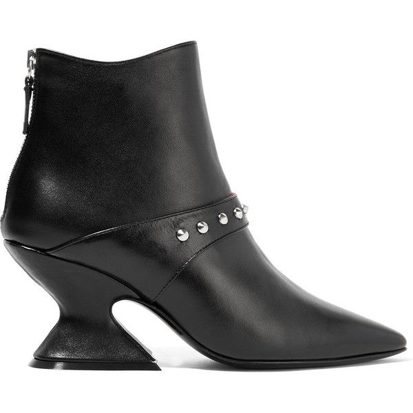 DORATEYMUR Radio studded leather ankle boots (2,485 CNY) ❤ liked on Polyvore featuring shoes, boots, ankle booties, black, black booties, high heel ankle boots, black leather boots, black ankle booties and black bootie