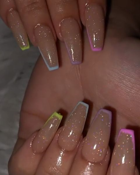 Acrylic Nails Glitter Colorful Tips Coffin Video Best Acrylic Nails Ombre Acrylic Nails Pretty Acrylic Nails