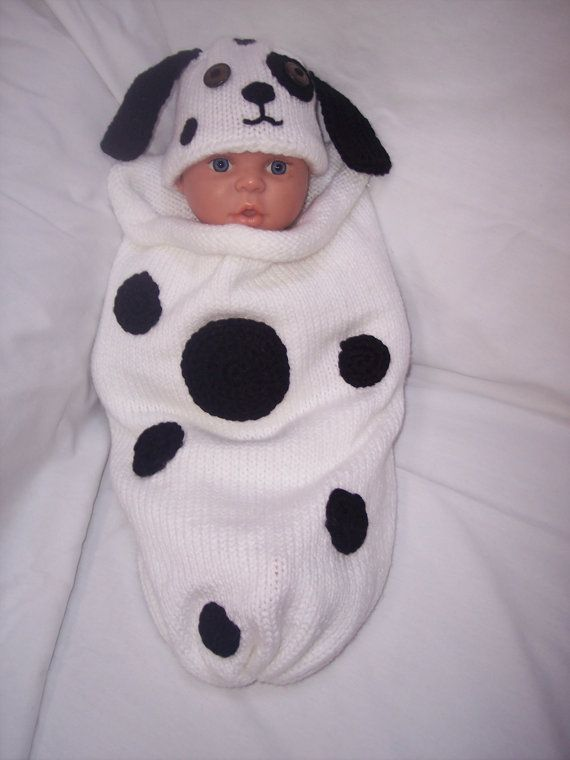 Dalmatian costume for baby. I know it\'s knit but would be easy to ...
