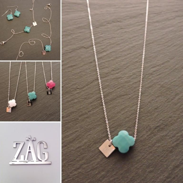 ecdbecbcd8aa26 Collier trèfle agate turquoise Zag Bijoux - 19,99€   Bisutería ...