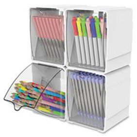Deflecto, Tilt Bin Interlocking Multi-Bin Storage Organizer, 1 Each, White - Walmart.com