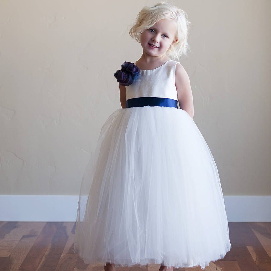 Silk Flower Girl Dress | White flowers, Girls dresses and Flower