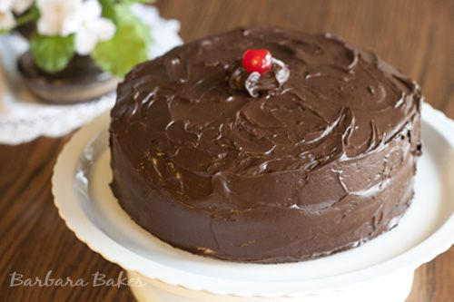 Old Fashioned Chocolate Cake With Maraschino Cherry Filling