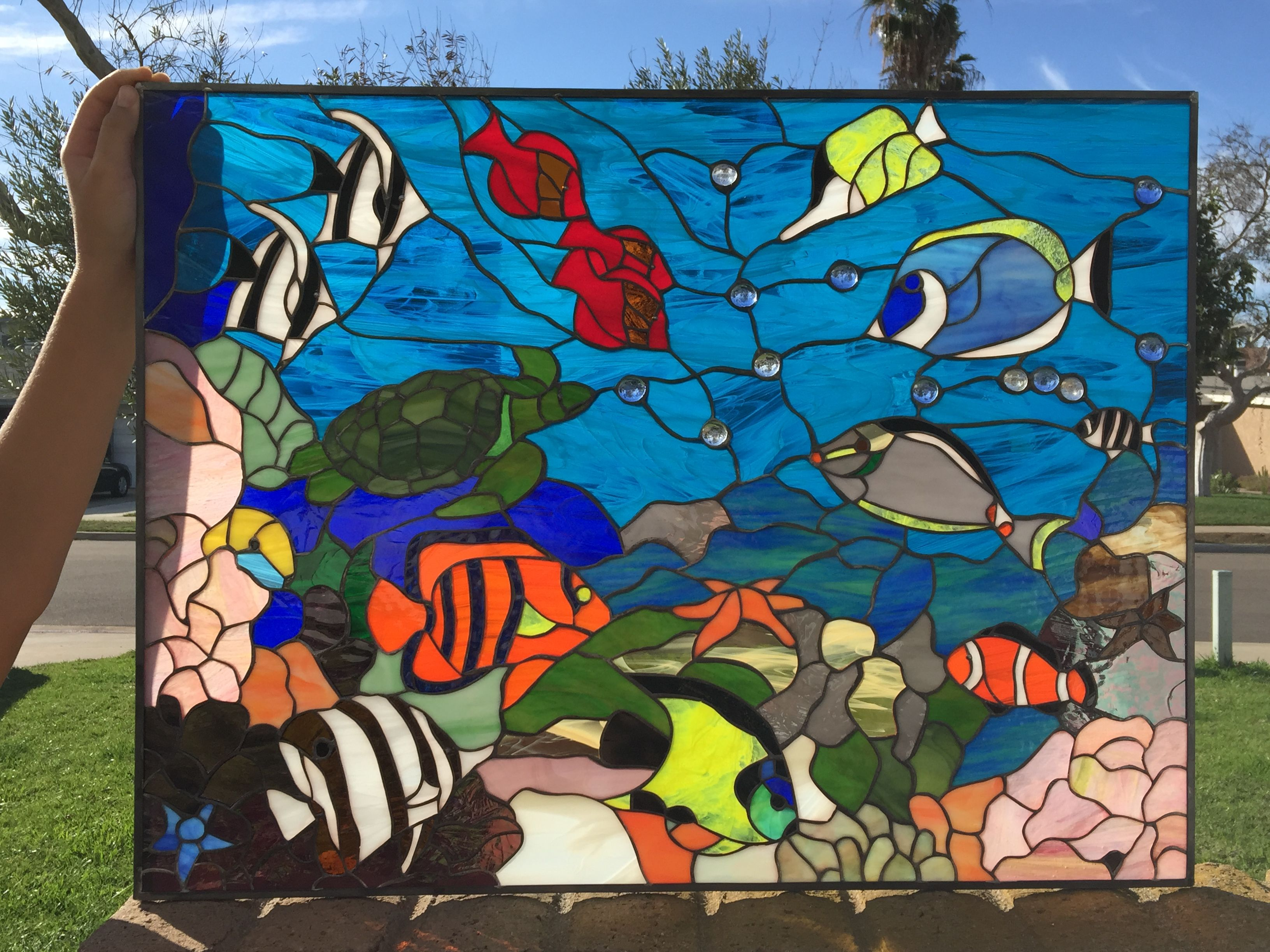 """The """"Fishtank"""" Colorful Sea Coral Clownfish & Turtle Leaded Stained"""