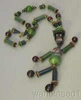 vtg BLACK MAN BAKELITE NECKLACE dangly hand painted brass beaded figure France