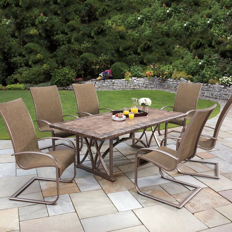 Agio 7 piece spring sling dining set cover costco uk for Ensemble patio costco
