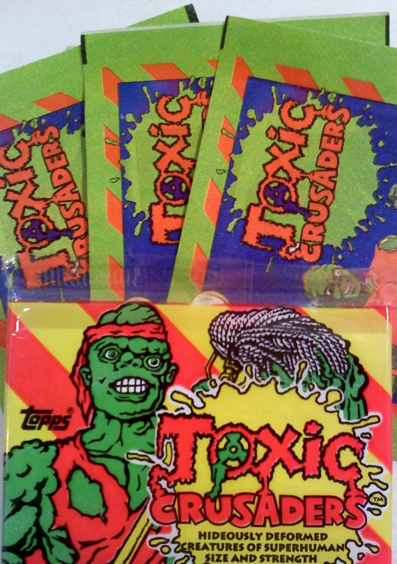 Toxic crusader trading card and sticker pack by sweetgyrldesigns