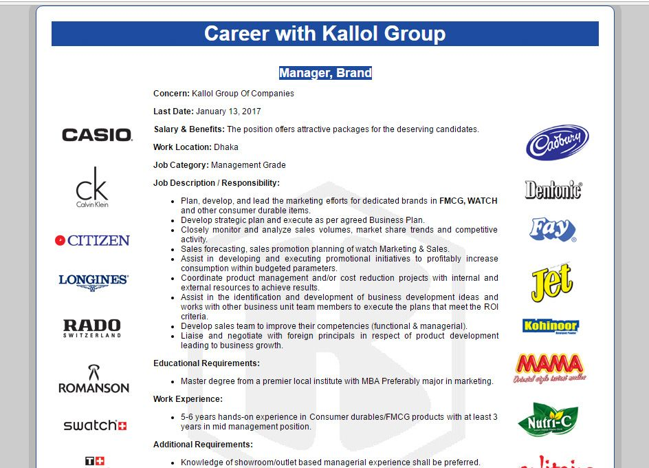 Kallol Group of Companies Position Manager, Brand