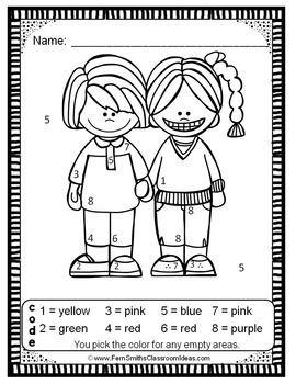 Kindergarten Color By Number Back to School Know Your