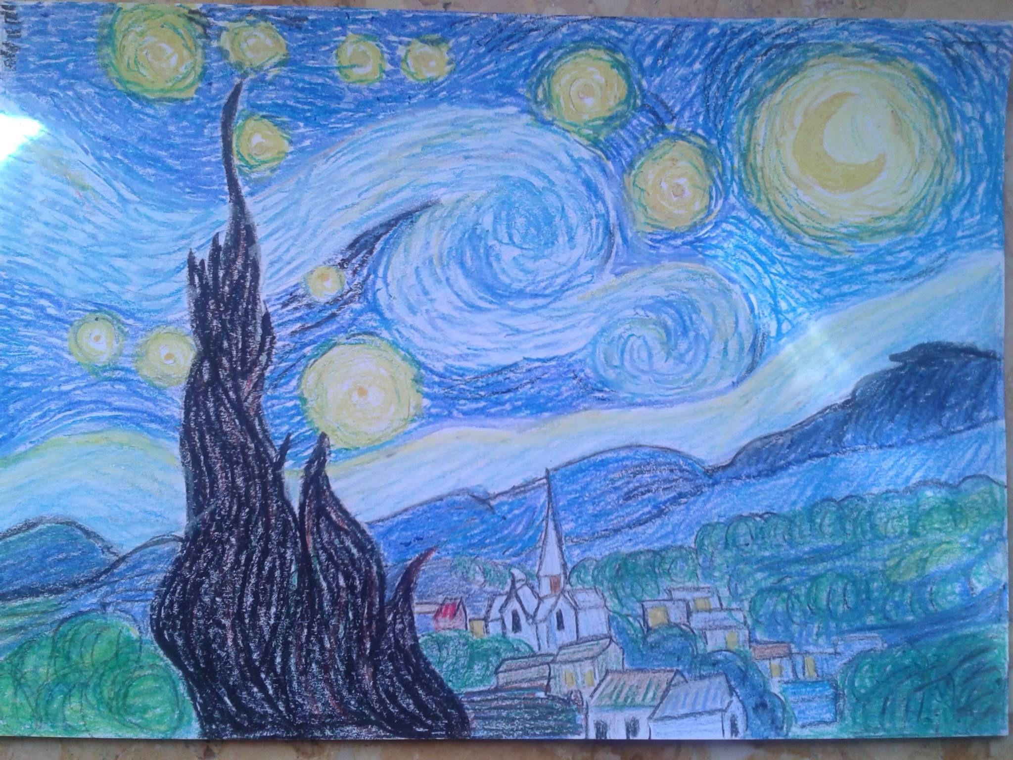 Noche estrellada de Van Gogh. Cera blanda. Nuit étoilée de Van Gogh ...