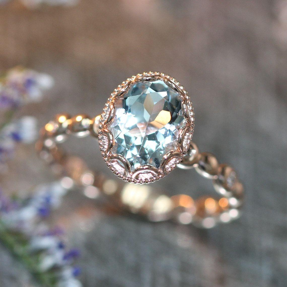 14k Rose Gold Floral Aquamarine Engagement Ring in Pebble