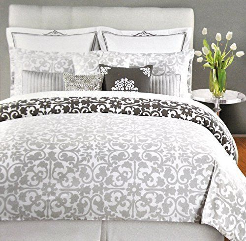 Tahari Home 3pc Luxury Cotton Duvet Cover Set Charcoal Gray White