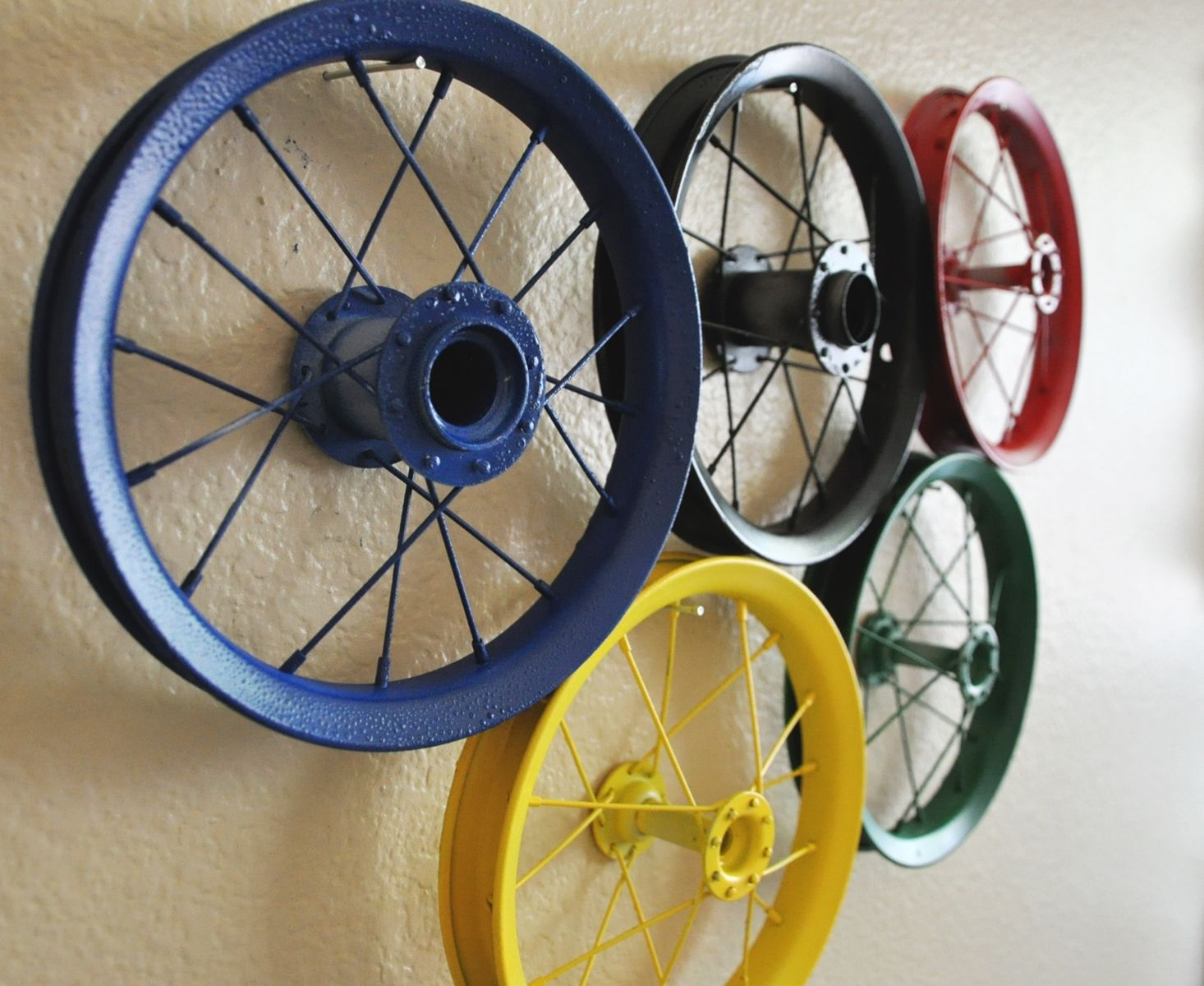 bicycle tire art hung on wall - Google Search