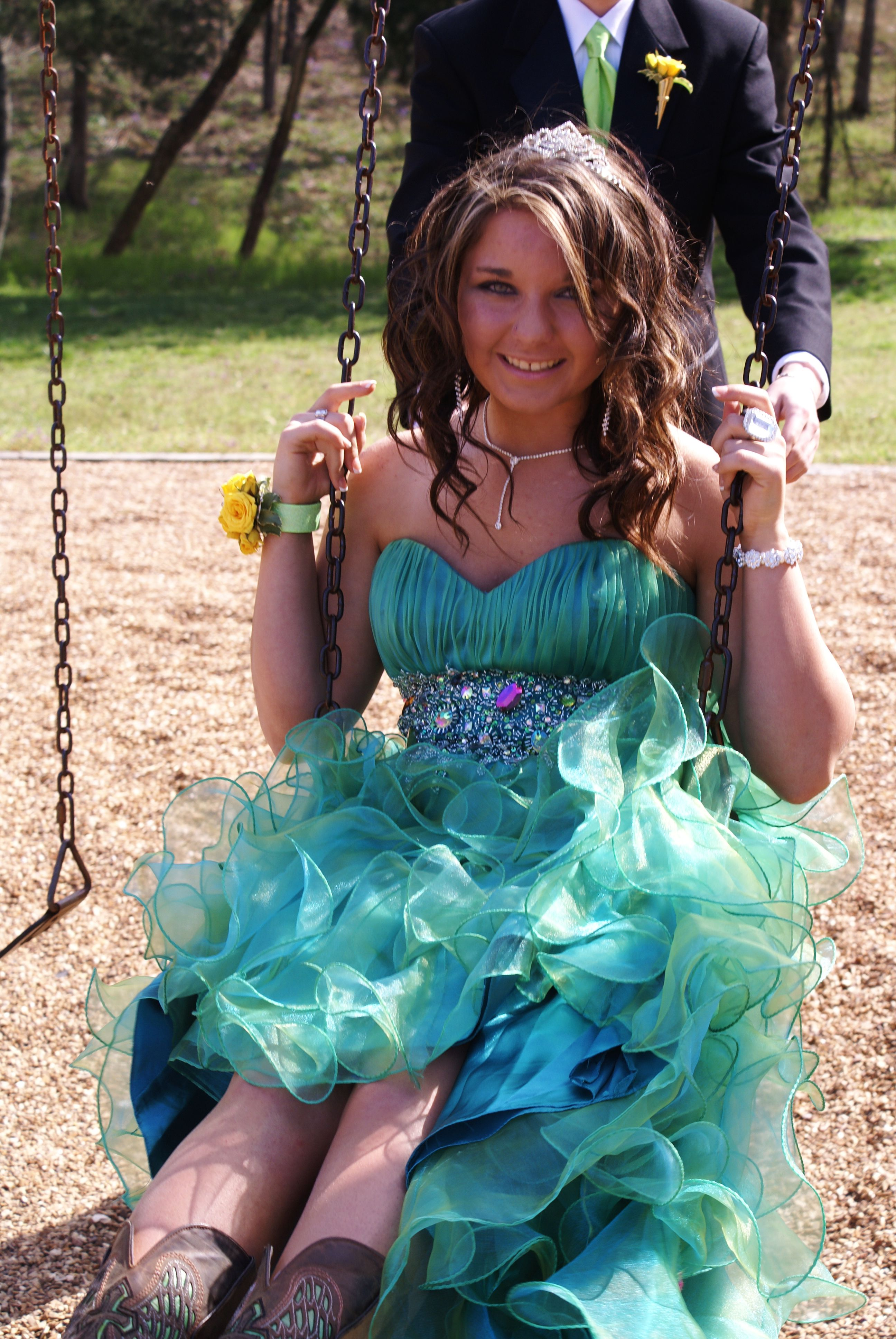 Definitely rocked my Cowgirl boots with my prom dress <3 | Country ...