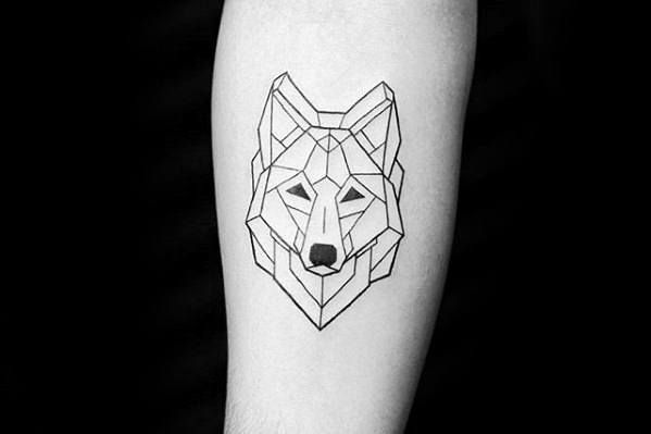 Forearm Remarkable Small Geometric Wolf Head Tattoos For Males Small Geometric Tattoo Geometric Wolf Tattoo Tattoos For Guys