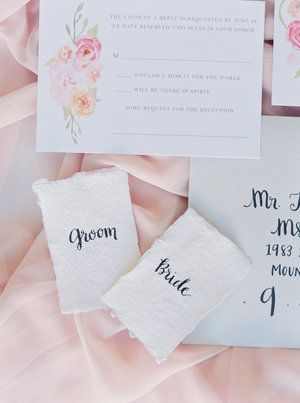Silk and Willow Placecards with Modern Calligraphy