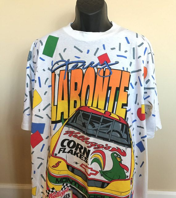 c7bf6cf7 *SOLD* 90s Kelloggs Racing Shirt Vintage Terry Labonte NASCAR Motorsport  Corn Flakes Frosted Monte Carlo They're Great Tony The Tiger Rooster Race