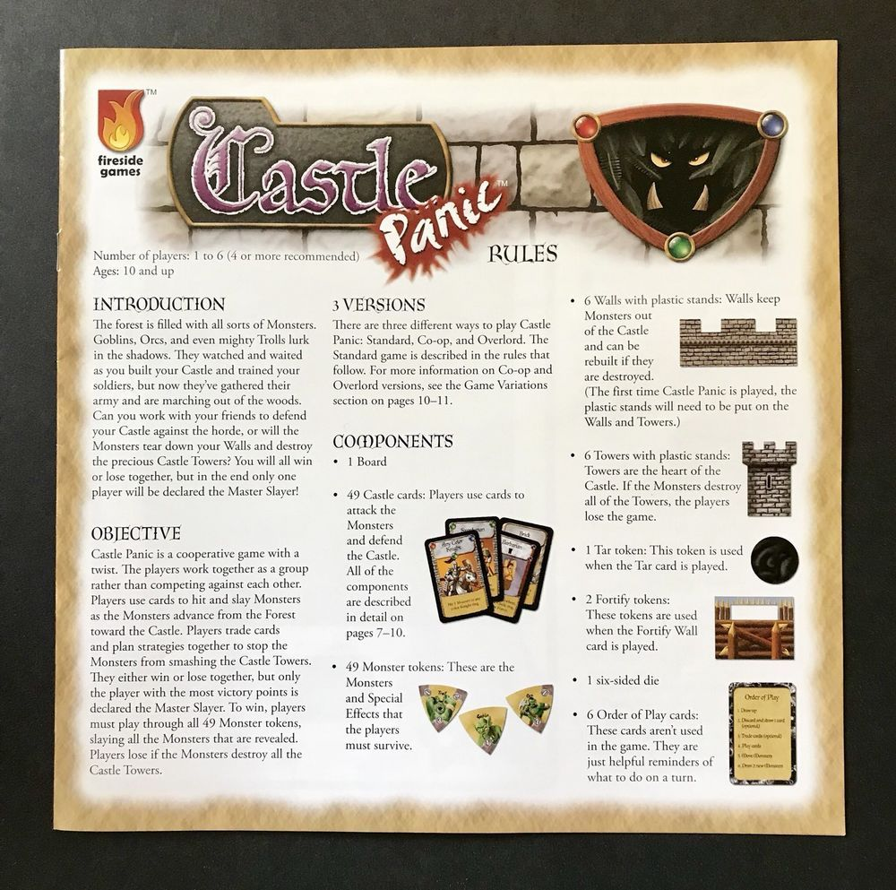 Castle Panic Board Game By Fireside Games 2010 Replacement