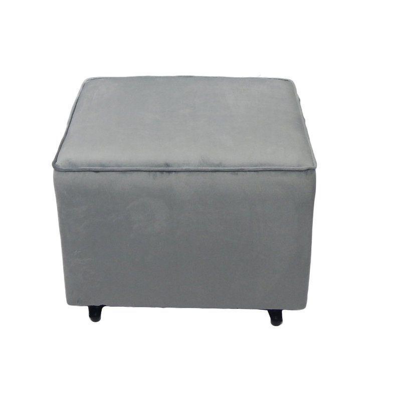 Life Style Furnishings Comfy Cozy Ottoman Grey Velvet - 40344
