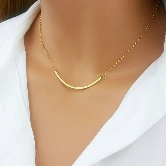 minimaliste et Simple Everyday Jewelry Sterling Silver Curved Bar Collier