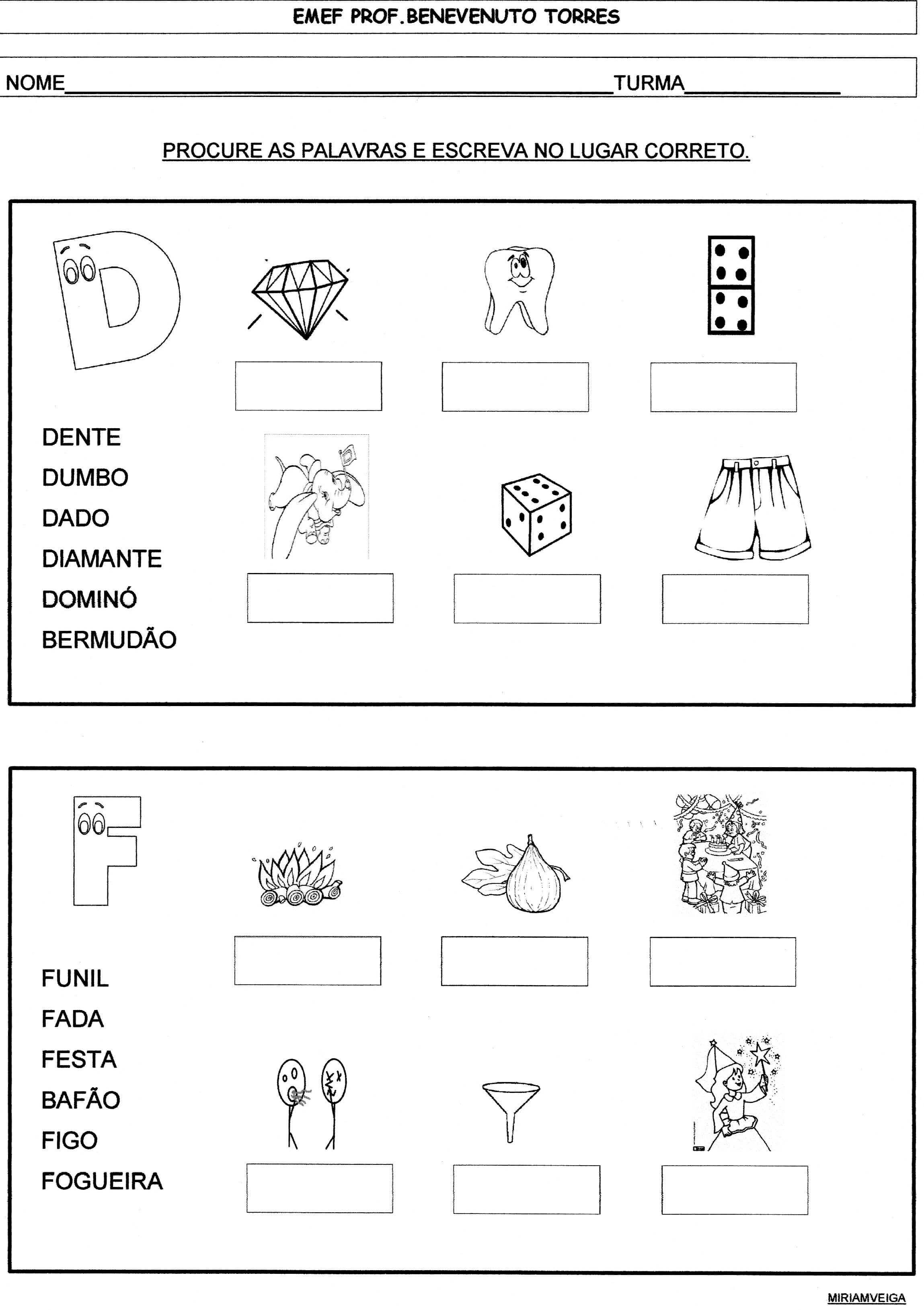 banco de palavras, fam.sil. D e F | alfabetização | Pinterest