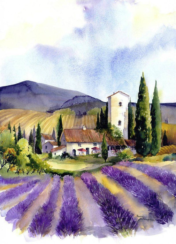 Lavender Fields Watercolor Watercolor Landscape Landscape Paintings
