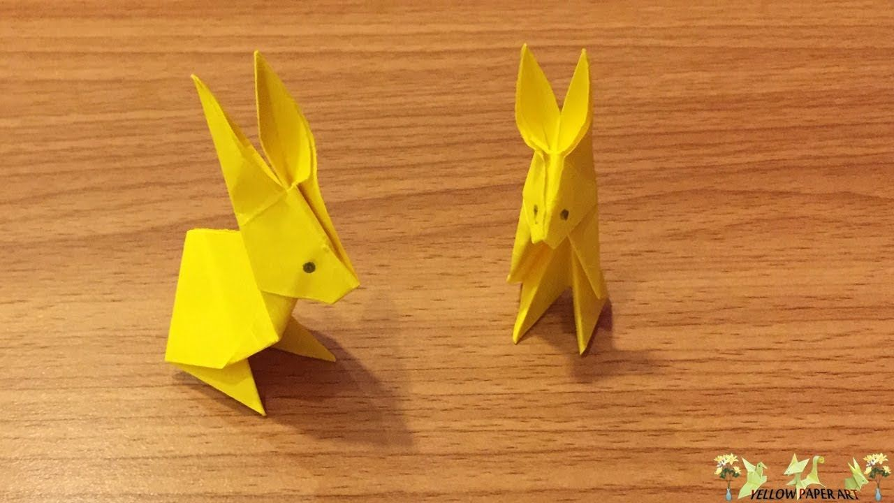 Yellow paper art how to make paper rabbit origami folds