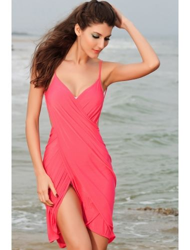 403e3741a8 Sexy Stylish Cross Front Beach Cover-up Coral | Buy Beach Cover up Dresses  , Beach Wear , bikini online in india | StringsAndMe