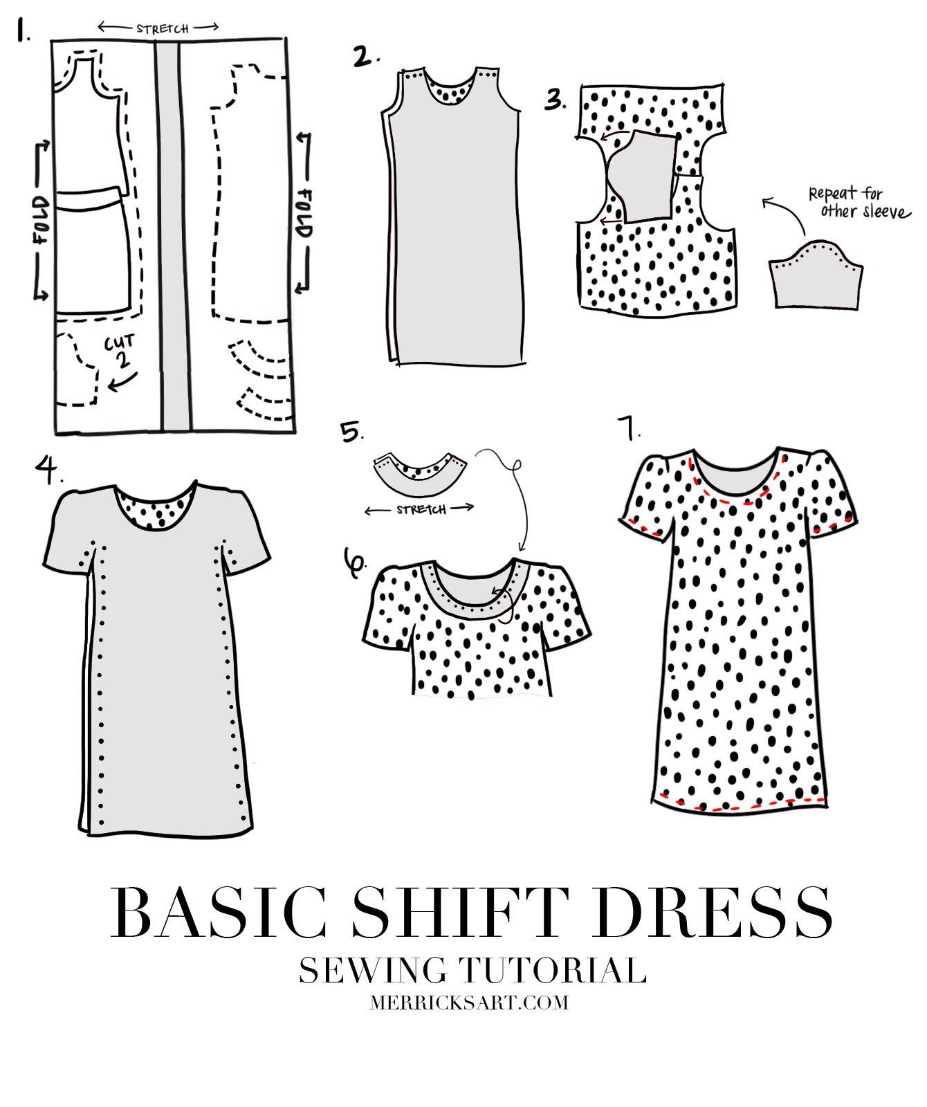 EASY SHIFT DRESS SEWING TUTORIAL | Etuikleid, Nähen und Mädchen