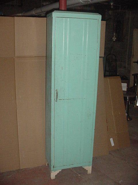 Antique Art Deco Aqua Painted Metal Pantry Kitchen Cupboard Retro Locker Cabinet Aqua Paint Pantry Cupboard Cupboard
