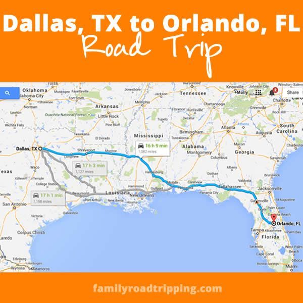 Map Of Texas And Florida.Road Trips From Dallas Tx To Orlando Fl Where To Stop And What