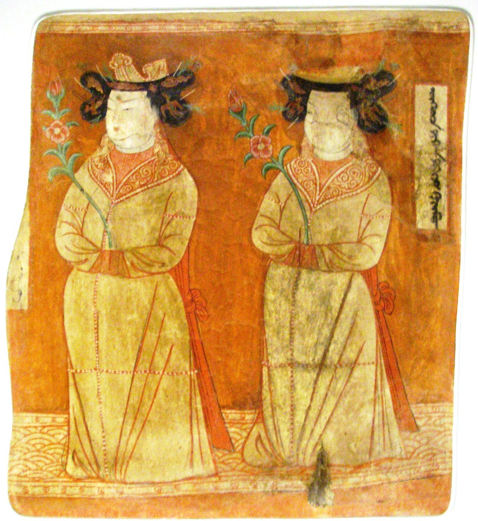 Uyghur Princesses. Bezeklik, Cave 9, 9-12th century CE, wall ...
