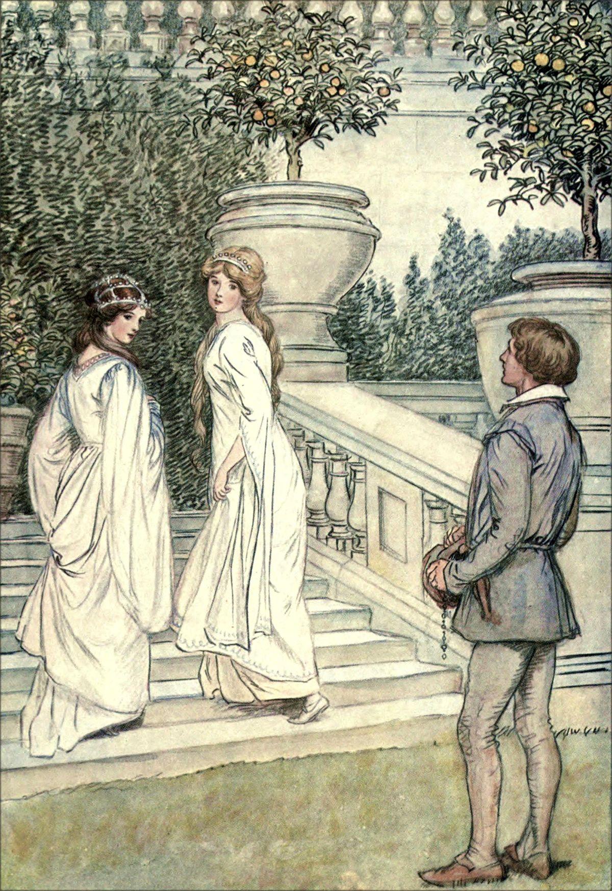 "4. Celia: ""Fare you well, fair gentleman.""  |    Hugh Thomson Illustrations: Shakespeare's Comedy AS YOU LIKE IT"