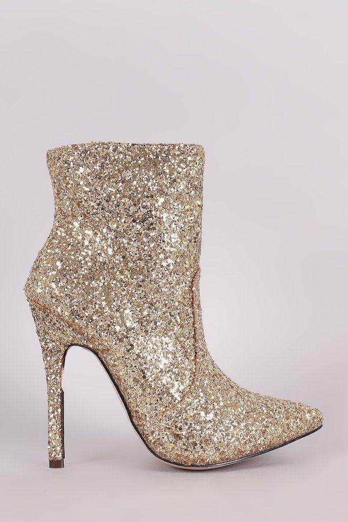8001f7141c6 Glitter Pointy Toe Stiletto Booties