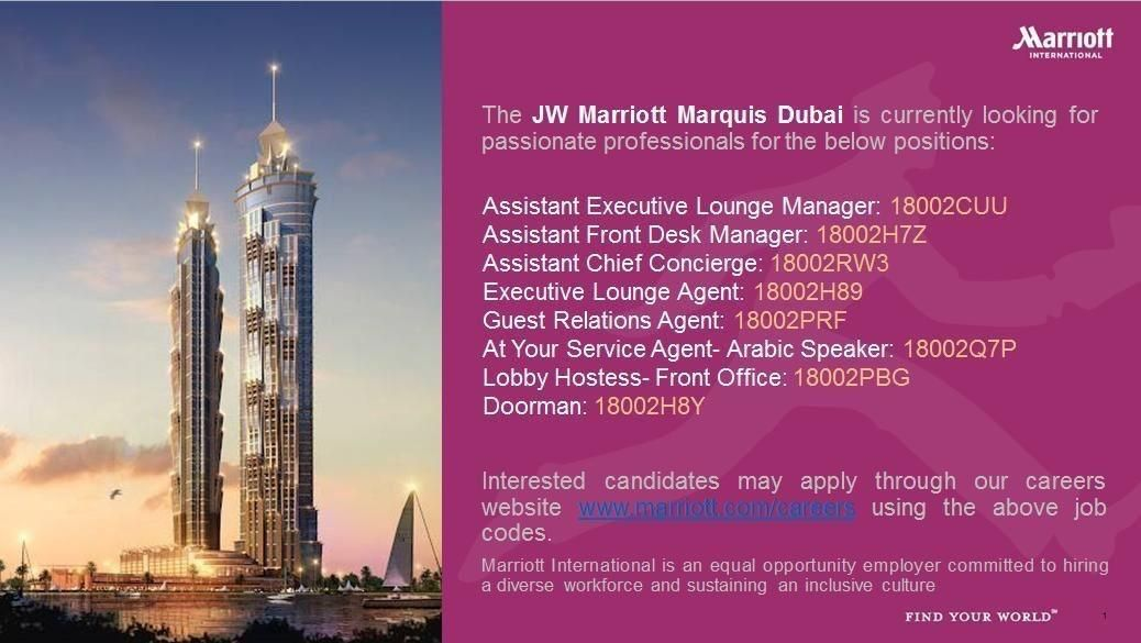 Hospitality Professionals Job Openings Marriott Dubai Job Opening Dubai Marriott