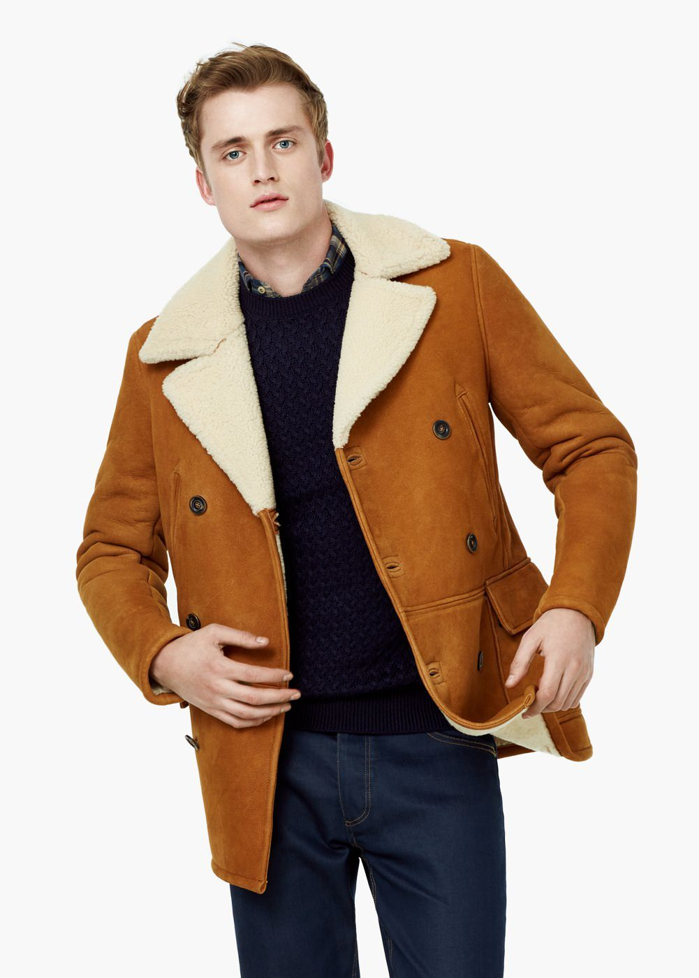 veste cuir double face homme en 2019 shearling veste. Black Bedroom Furniture Sets. Home Design Ideas