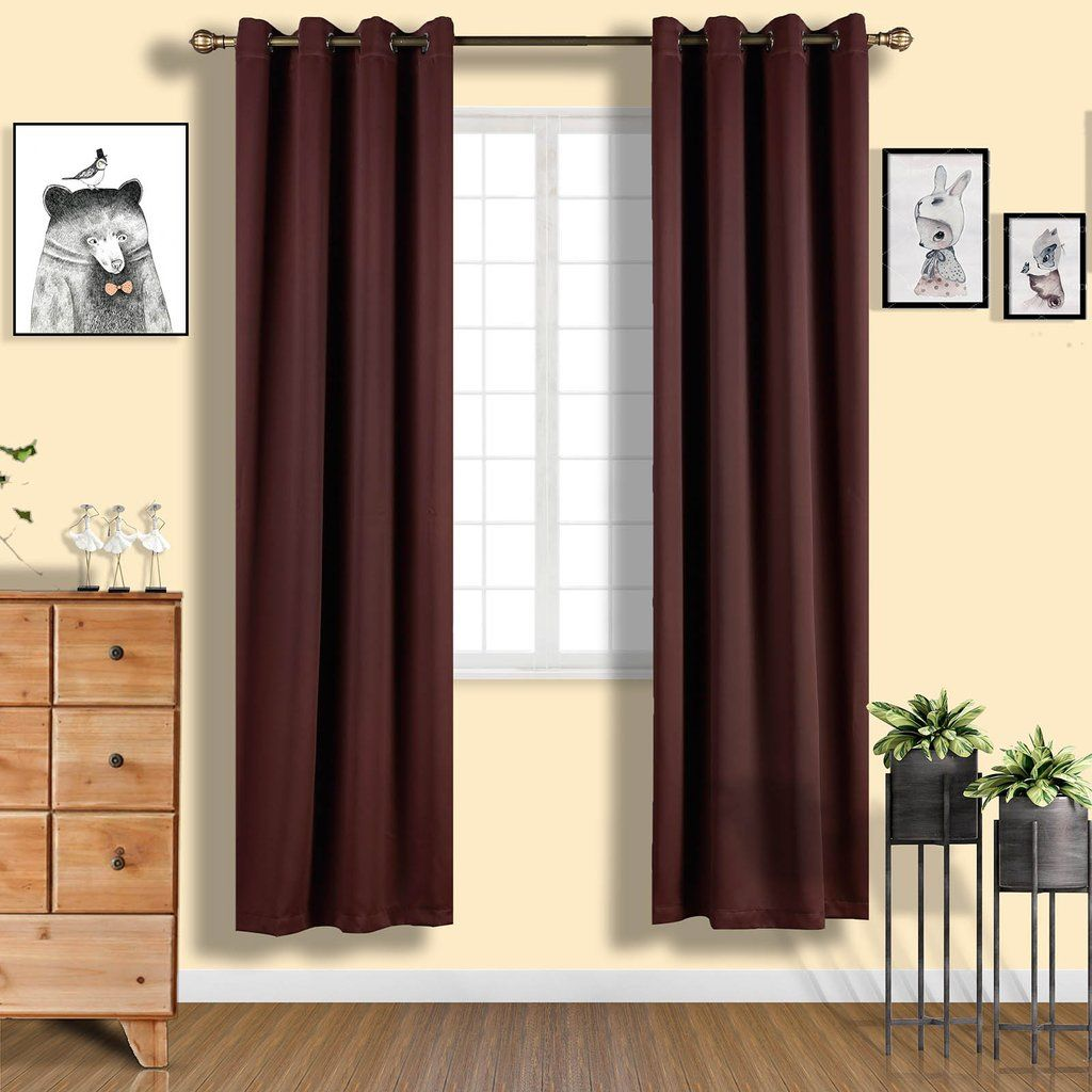 Chocolate Soundproof Curtains 2 Packs 52 X 96 Inch Blackout Curtains Grommet Blackout Curtains In 2020 Grommet Curtains Blackout Curtains Curtains