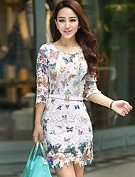 Women's Simple Butterfly Print Cut Out Lace Dress – USD $ 20.99