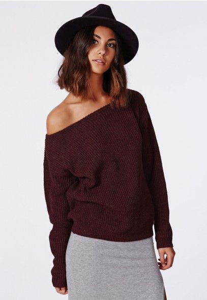 Ophelita Off Shoulder Knit Sweater - Jumpers - Missguided $28.48 (Ignore the hat-- @heidik1 could I pull off this sweater?)